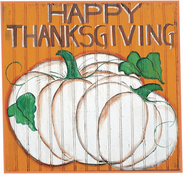 Painted Wood, Pumpkin and Leaves Thanksgiving Sign, 24in x 24in