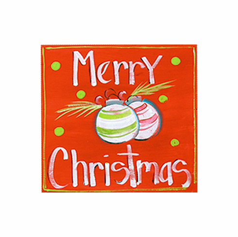 Painted Wood, Red Merry Christmas Sign, 12in x 12in