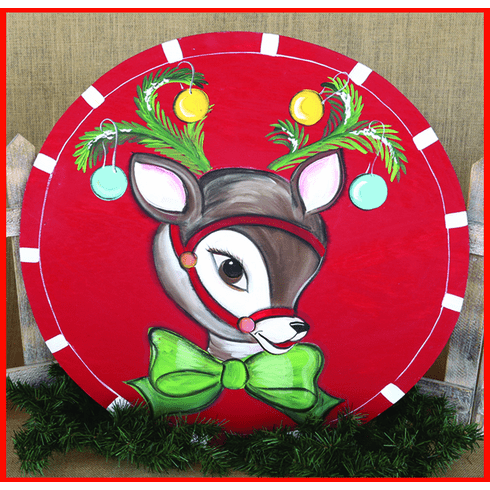 Painted Wood, Reindeer Merry Christmas Sign, 24 inch round