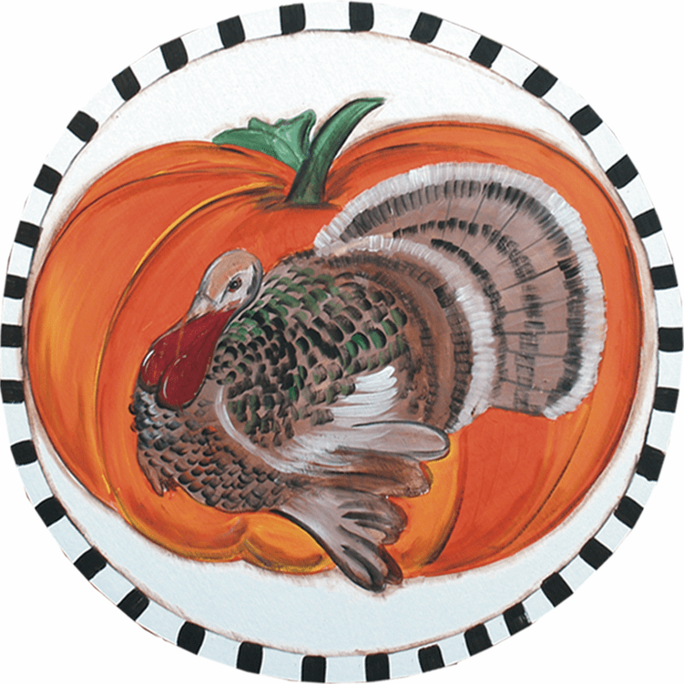 Painted Wood, Rooster and Pumpkin Thanksgiving Sign, 24 inches round