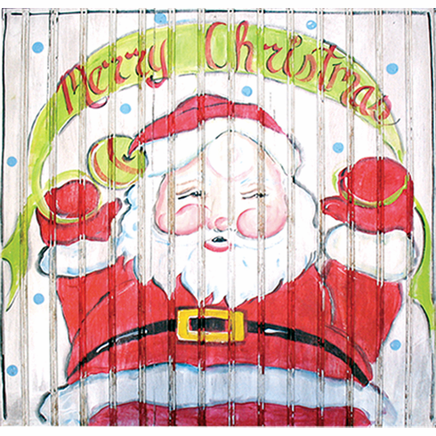 Painted Wood, Santa Claus Merry Christmas Sign, 24in x 24in