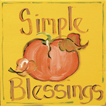 Painted Wood, Simple Blessings Square Thanksgiving Sign, 12in x 12in