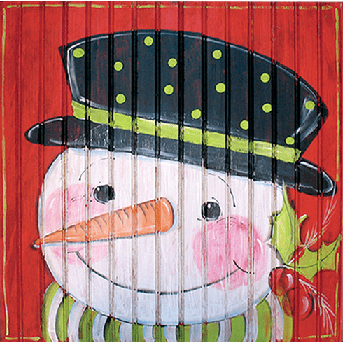 Painted Wood, Snowman Merry Christmas Sign, 24in x 24in