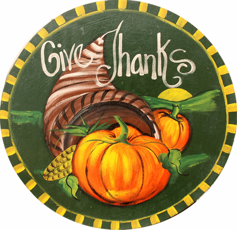 Painted Wood, Two Pumpkins Thanksgiving Sign, 24 inches round