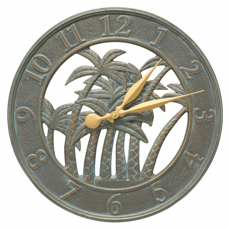 Palm 18 inches Indoor Outdoor Wall Clock - Bronze Verdigris
