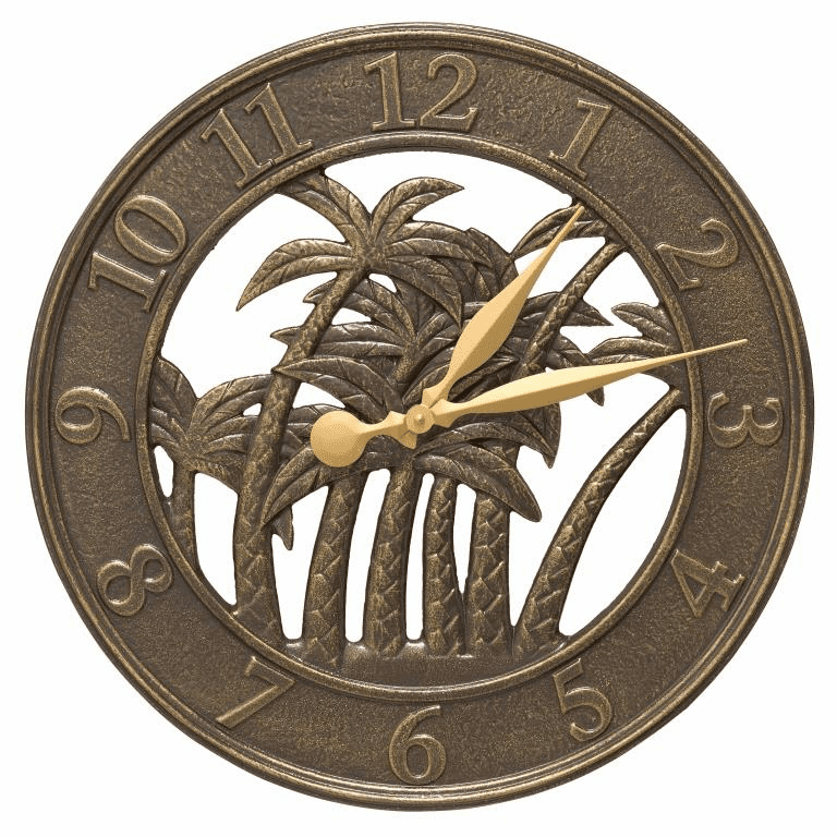 Palm 18 inches Indoor Outdoor Wall Clock - French Bronze