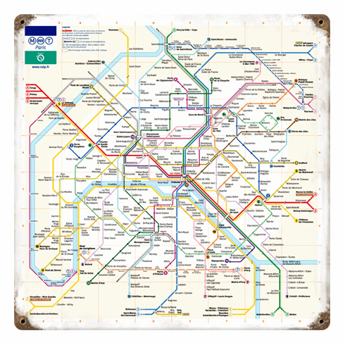 Paris Metro Train Map - Metal Sign