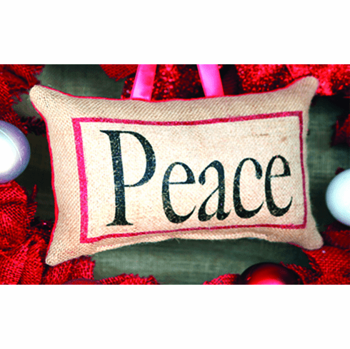 Peace Merry Christmas Pillow, 8in x 6in