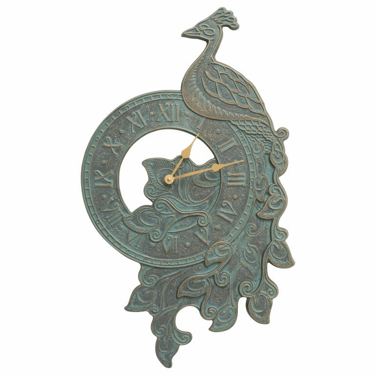 Peacock Indoor Outdoor Wall Clock - Bronze Verdigris
