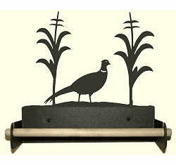 Pheasant Paper Towel Holder With Wood Bar