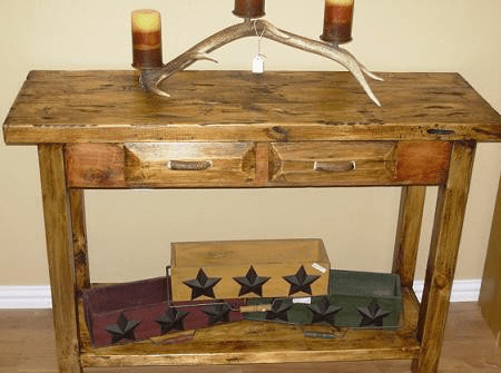 Pine Sofa Table with Antler Handles