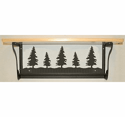 Pine Tree Rustic Towel Bar with Shelf