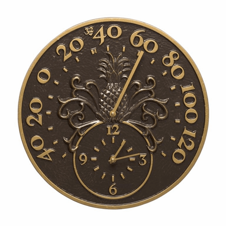 Pineapple Thermometer Clock - French Bronze