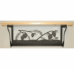 Pinecone Rustic Towel Bar with Shelf