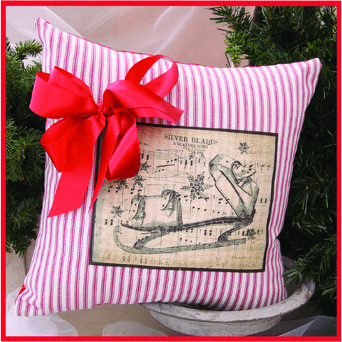 Pink Merry Christmas Ribboned Pillow, 14in x 14in