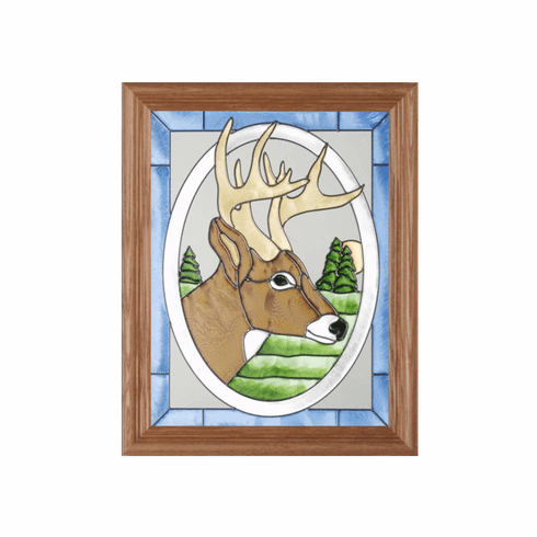 Portrait of a Deer (Buck) Stained Glass Art Glass