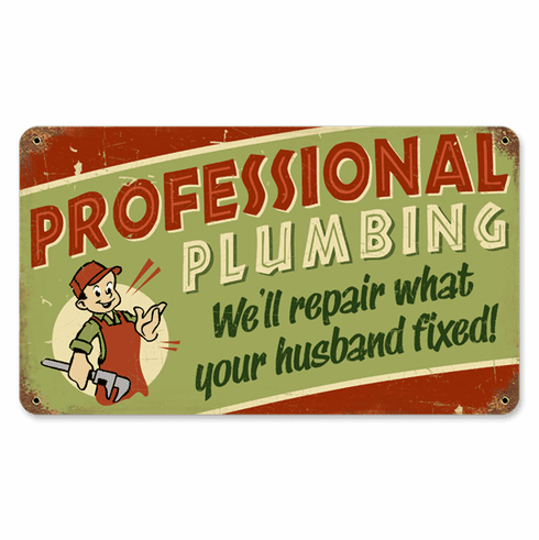 Professional Plumbing Sign - Fun Husband Gift
