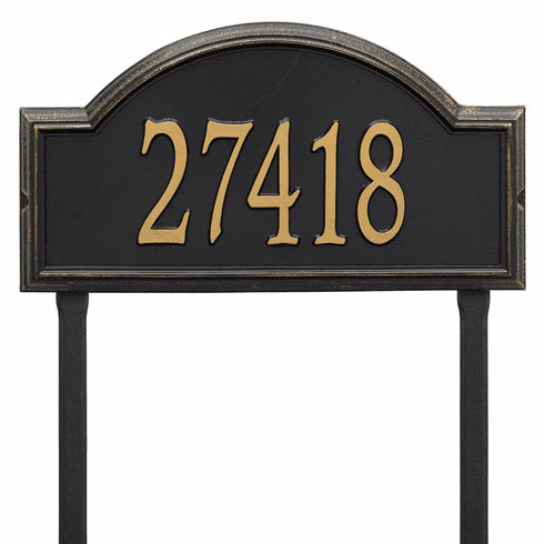 Providence Arch Estate Lawn One Line Plaque in Black and Gold