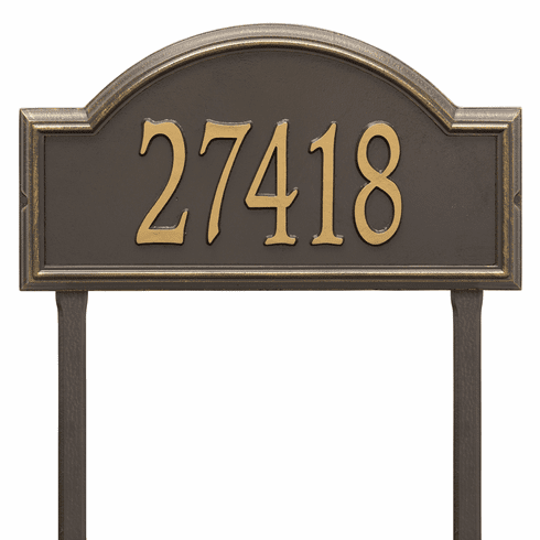 Providence Arch Estate Lawn One Line Plaque in Bronze and Gold