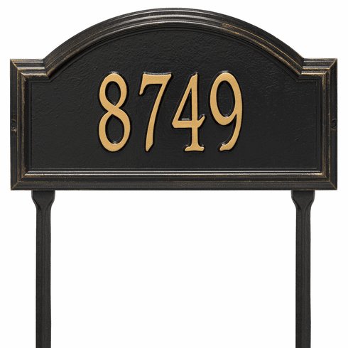 Providence Arch Standard Lawn One Line Plaque in Black and Gold