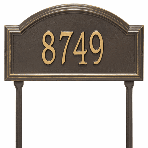 Providence Arch Standard Lawn One Line Plaque in Bronze and Gold