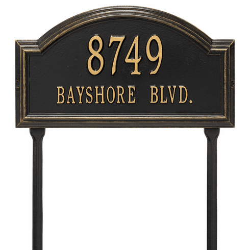 Providence Arch Standard Lawn Two Line Plaque in Black and Gold