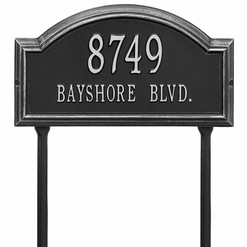 Providence Arch Standard Lawn Two Line Plaque in Black and Silver