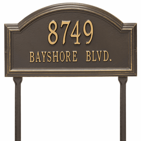 Providence Arch Standard Lawn Two Line Plaque in Bronze and Gold