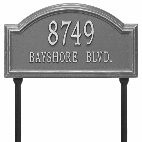 Providence Arch Standard Lawn Two Line Plaque in Pewter and Silver