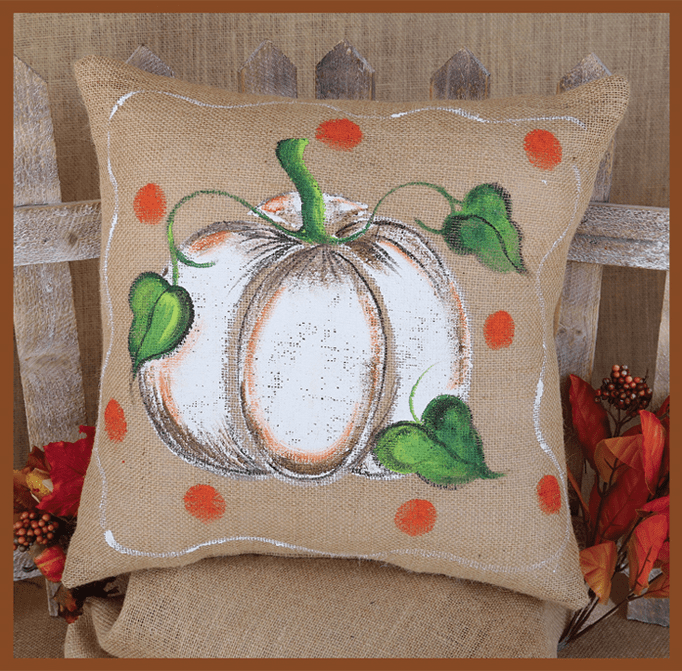 Pumpkin and Leaves Thanksgiving Pillow, 17in x 17in