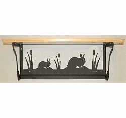 Rabbit Rustic Towel Bar with Shelf
