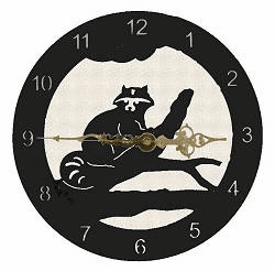 Raccoon Smooth Edge Rustic Clock