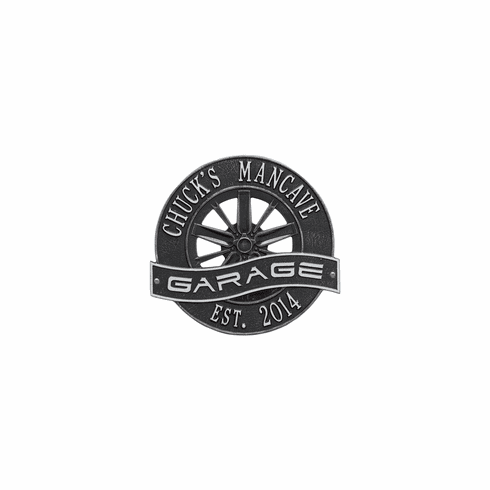Racing Wheel Garage Standard Wall Two Line Plaque in Black and Silver