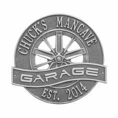 Racing Wheel Garage Standard Wall Two Line Plaque in Pewter and Silver
