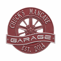 Racing Wheel Garage Standard Wall Two Line Plaque in Red and Silver