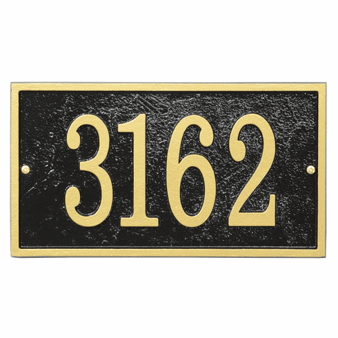 Rectangle House Numbers Plaque in Black and Gold