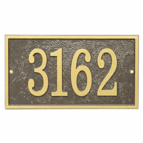 Rectangle House Numbers Plaque in Bronze and Gold