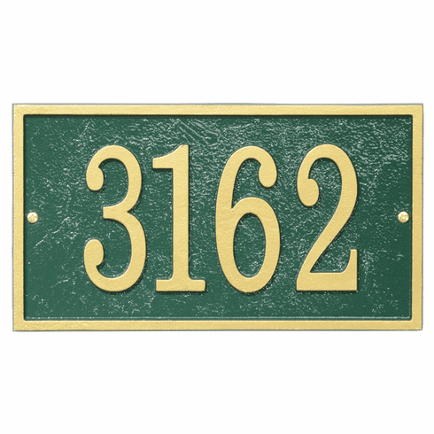 Rectangle House Numbers Plaque in Green and Gold