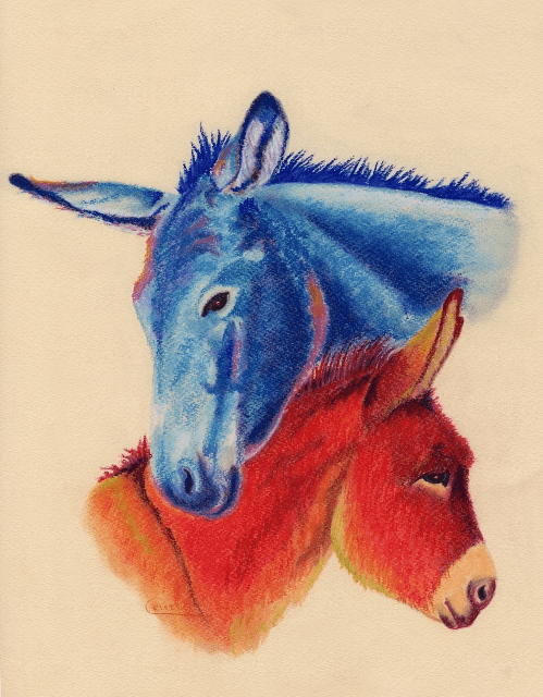 Red Donkey and Blue Mule