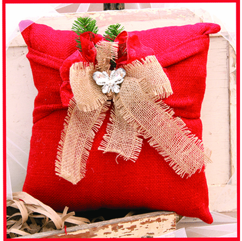 Red Merry Christmas Ribboned Pillow, 14in x 14in