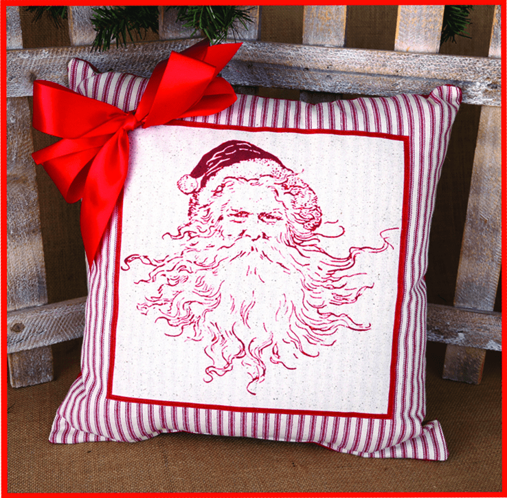 Red Santa Merry Christmas Ribboned Pillow, 17in x 17in