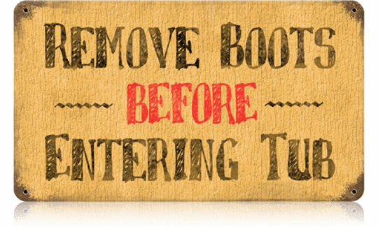 Remove Boots Before Entering Sign
