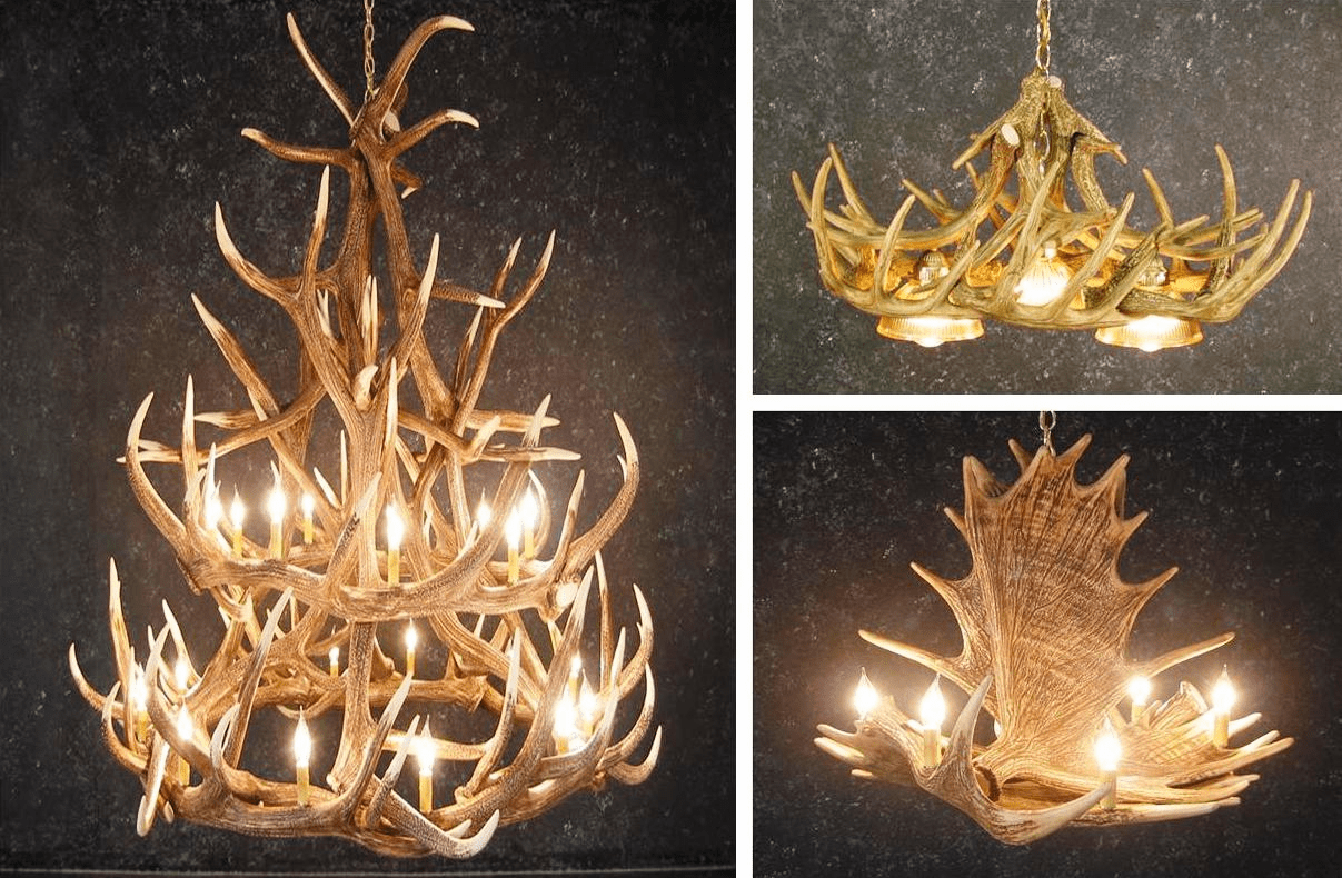 Cast Antler Chandeliers, Lamps, Sconces & Mounts