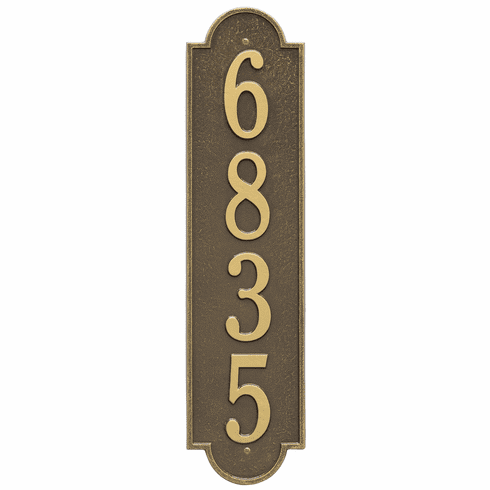 Richmond Vertical Estate Wall One Line Plaque in Antique Brass