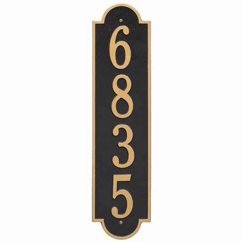 Richmond Vertical Estate Wall One Line Plaque in Black and Gold