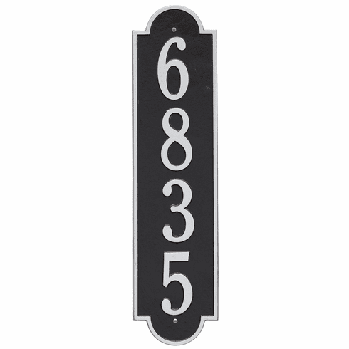 Richmond Vertical Estate Wall One Line Plaque in Black and Silver