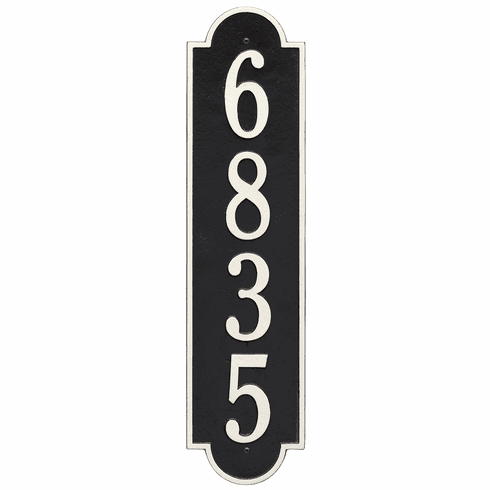Richmond Vertical Estate Wall One Line Plaque in Black and White