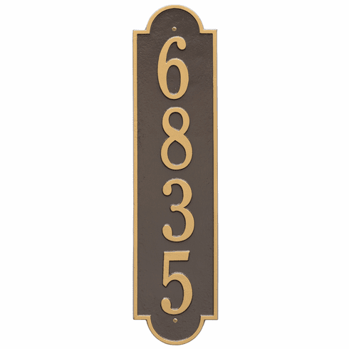 Richmond Vertical Estate Wall One Line Plaque in Bronze and Gold