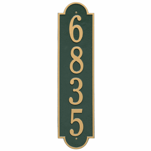 Richmond Vertical Estate Wall One Line Plaque in Green and Gold