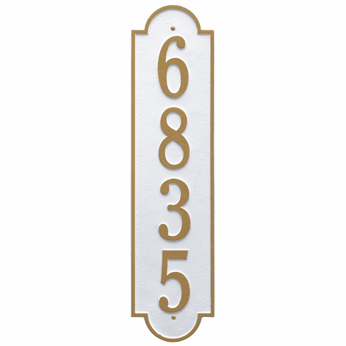 Richmond Vertical Estate Wall One Line Plaque in White and Gold